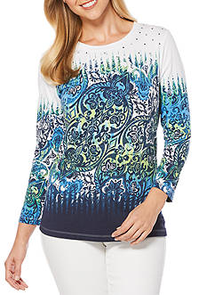 Rafaella Printed Embellished Knit Top