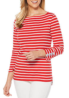 Rafaella Yarn Striped Knit Top