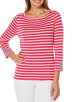 Rafaella Yarn Striped Knit Top
