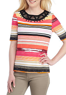 Rafaella Striped Elbow Sleeve Tee