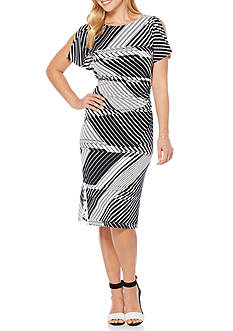 Rafaella Stripe Printed Wrap Dress