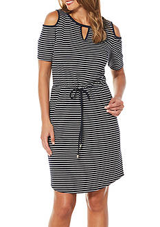 Rafaella Stripe Cold Shoulder Dress