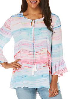 Rafaella Stripe Bell Sleeve Tunic