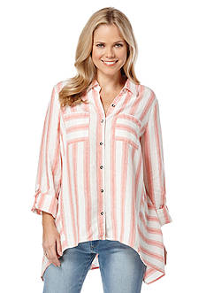 Rafaella Striped Linen Button Down Shirt