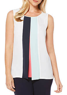 Rafaella Crepe Colorblock Tank Top