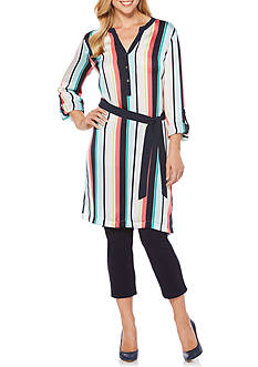 Rafaella Satin Stripe Printed Tunic