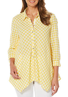 Rafaella Gingham Button Front Blouse
