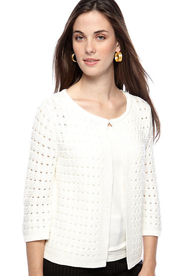 Kim Rogers® Sweater - Petite Solid Textured Cardigan