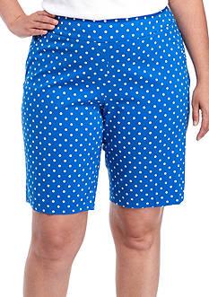 Kim Rogers Plus Size Printed Tech Stretch Dot Short