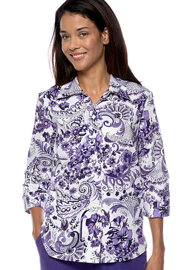 Kim Rogers® Petite Printed Cotton Embroidered Blouse