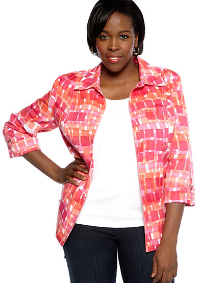 Kim Rogers® Plus Size Printed Open Front Jacket With Hardware