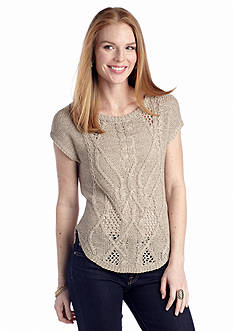 New Directions® Short Sleeve Cable Front Sweater