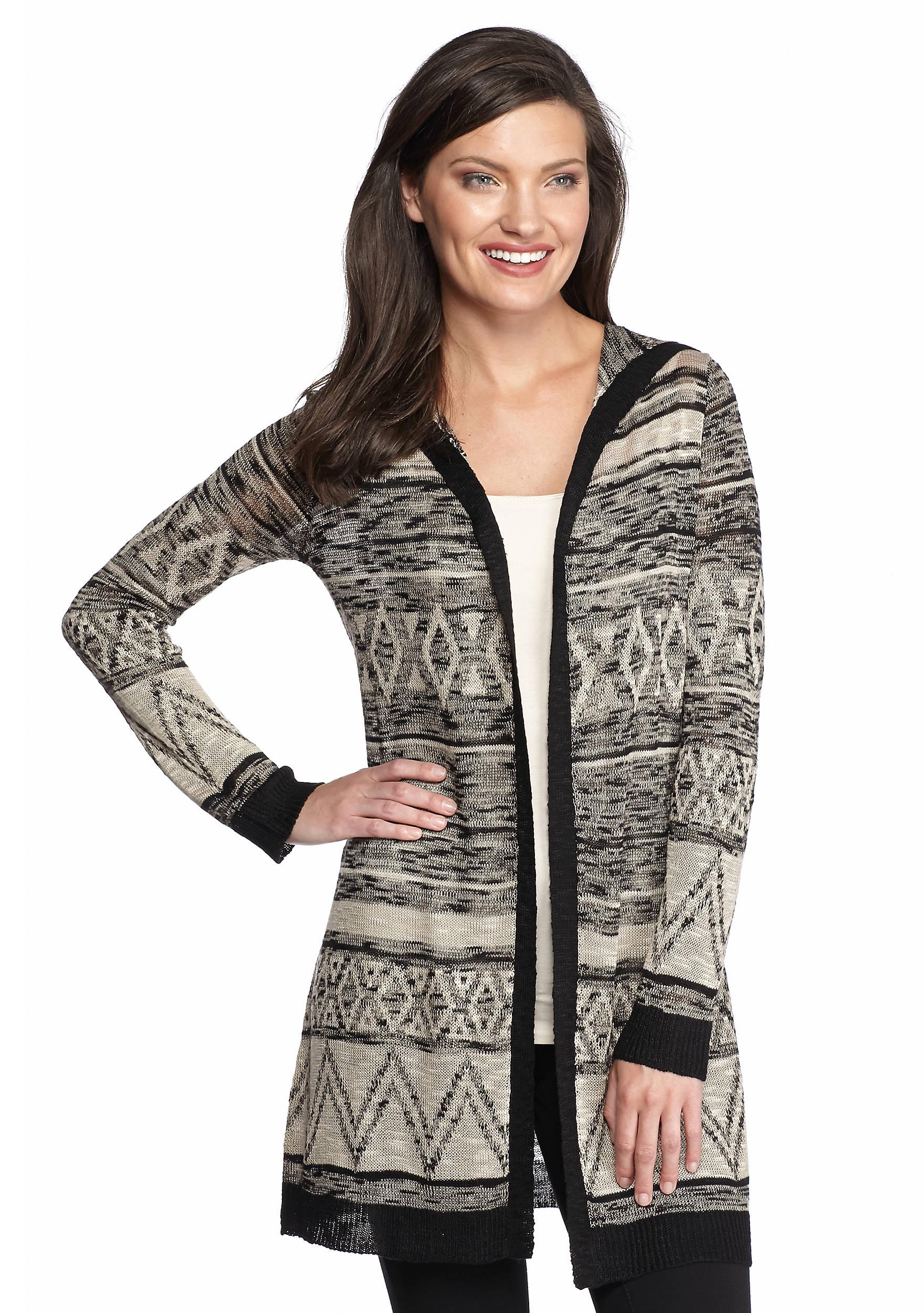 New Directions® Aztec Hooded Cardigan | belk
