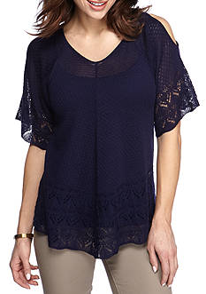 New Directions Cold Shoulder Swing Body Top