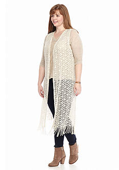 New Directions® Plus Size Long Crochet Fringe Cardigan
