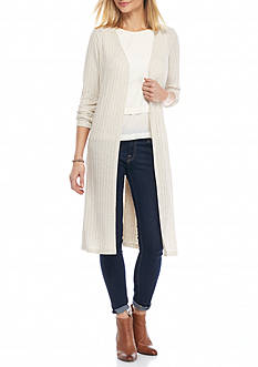 New Directions Long Side Slit Cardigan