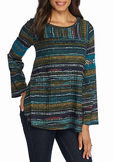 New Directions Multi Stripe Lace Trim Top