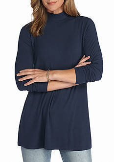 New Directions Solid Baby Rib Swing Mock Neck Top