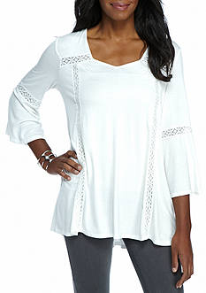 New Directions Solid Lace Trim Top