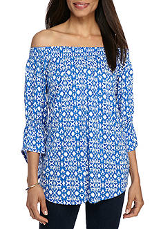 New Directions Printed Off Shoulder Flare Sleeve Top