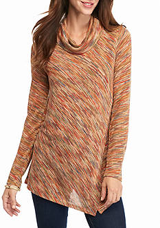 New Directions Cowl Neck Spacedye Crossover Top