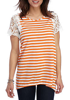 New Directions Striped Lace Sleeve Sharkbite Top