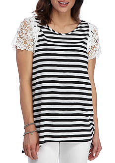 New Directions® Striped Lace Sleeve Sharkbite Top