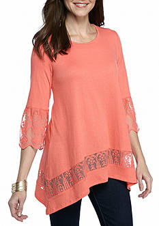 New Directions Solid Sharkbite Lace Trim Tunic