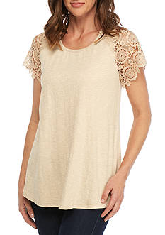 New Directions Pucker Knit Lace Sleeve Top