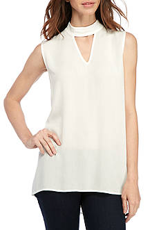 New Directions Crinkled Mock Neck Keyhole Tank