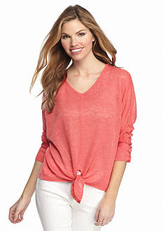 New Directions® Lace Trim Tie Front Top