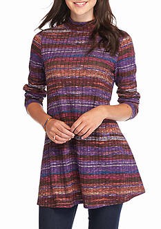New Directions Multi Stripe Mock Neck Tunic