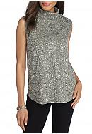 New Directions® Ribbed Spacedye Mock Neck Top