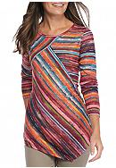 New Directions® Petite Pieced Multi Stripe Top