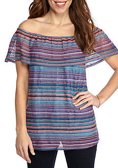 New Directions Petite Stripe Off Shoulder Knit Top