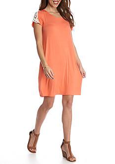 New Directions Petite Crochet Shoulder Short Dress