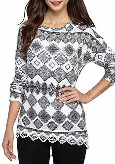 New Directions Petite Size Lace Hem Hacci Printed Sweatshirt
