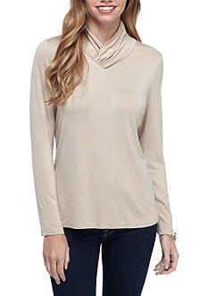 New Directions Petite Size Knit Crossover Neck Top