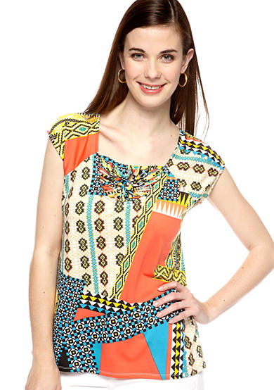 New Directions® Petite Cap Sleeve Macrame Top
