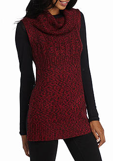 New Directions Cowl Neck Marled Buckle Sweater