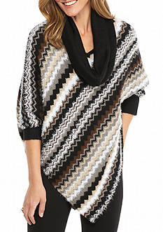 New Directions Chevron Stripe Poncho with Scarf