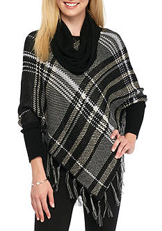 New Directions Plaid Fringe Poncho with Scarf