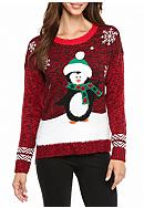 New Directions® Snow Penguin Marled Sweater