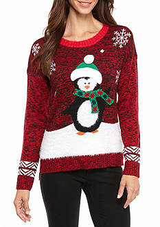 New Directions Snow Penguin Marled Sweater