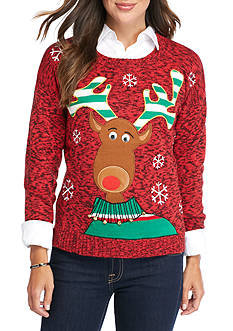 New Directions Reindeer Jingle Bell Sweater