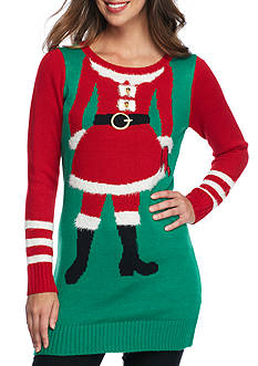 New Directions Mrs. Claus Jacquard Tunic Sweater