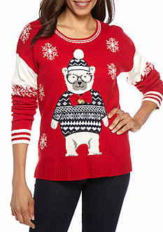 New Directions Polar Bear Snowflake Bell Sweater