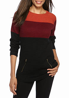 New Directions Colorblock Shirttail Sweater