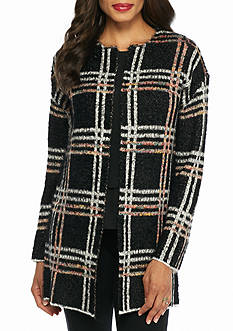 New Directions Plaid Eyelash Cardigan
