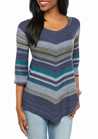 New Directions® Petite Striped V-Neck Tunic